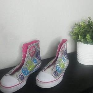 Justice sparkle high tops size 6